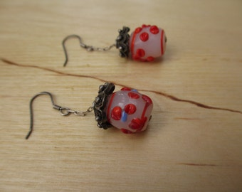 Insouciant Studios Temple Earrings Lampwork Flower Bead Sterling Silver