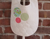 bib - baby/toddler - bright coral pink, spring green and light teal