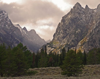 Grand Teton, Mountains Photo, Art Print, Nature Photo, Landscape Photograph, Sepia Photo, Western Decor, Wyoming Artwork, Wall Decor
