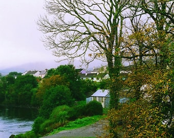 Ireland Photograhy, Ring of Kerry, Sneem Photo, Irish Countryside, Autumn Print, Fine Art Photo, Tree Decor, Blue and Green, 5 x 7 Print