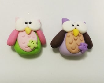 Cute Little Owl Polymer Clay Charm Bead, Scrapbooking, Bow Center, Pendant, Cupcake topper, Magnet, Ring