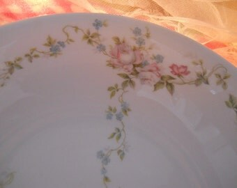 antique fine china handled serving bowl pink roses and blue forget me nots