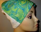 FREE SHIP USA Teal Paisley  Print  Lightweight  Hat -Chemo, Cancer, Alopecia, Sleep Cap, Summer Chemo Hat