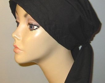 Black Solid Color Chemo Hat, Cancer Scarf, Surgical Scrub Hat, Turban, Hair Loss