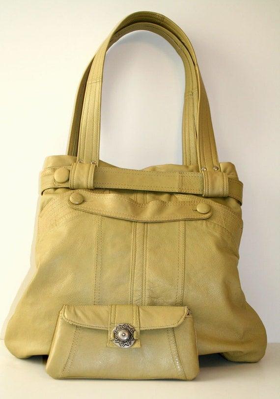 ON SALE Celery Green Repurposed Leather Shoulder Bag Handbag