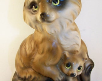 Vintage Raccoon and Baby Animal Japan Mid Century Figurine Woodland
