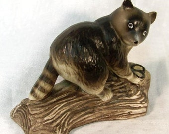 Vintage Raccoon Enesco Japan Mid Century Figurine Woodland