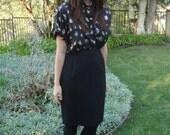 Vintage Liz Claiborne Black Wool Pencil Skirt S