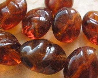 Vintage Glass Beads (10) German Rootbeer Pressed Beads