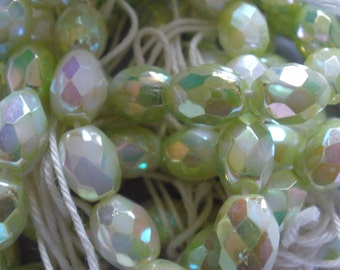 Vintage Glass Beads (12) German Celery Green AB Faceted Oval Beads
