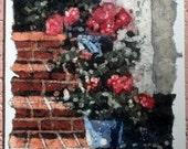 Geranium Blue Pots Batik Watercolor