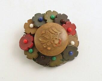 Vintage Brooch Czechoslovakia Button Jewelry Costume Jewelry