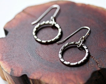 small  circle modern hoop silver earrings