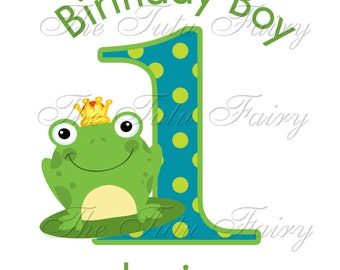 Frog prince Birthday boy shirt tee baby toddler first 1st 2nd 3rd Name age 4 5 6 7