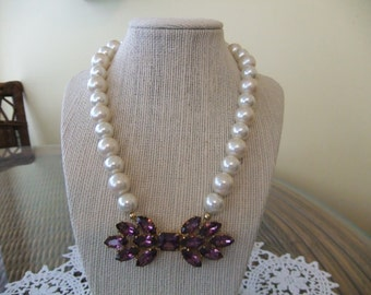 Stunning Pearl Necklace with Vintage Amethyst Rhinestone Brooch