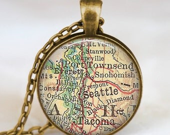 Seattle map necklace, seattle map  jewelry , seattle washington pendant , vintage map jewelry with gift bag