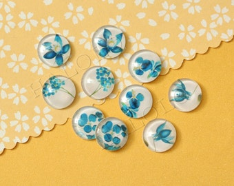 10pcs handmade assorted blue orchid round clear glass dome cabochons 12mm (12-9716)