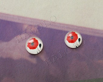 Sale - 10pcs handmade red flower round clear glass dome cabochons 12mm (12-9703)