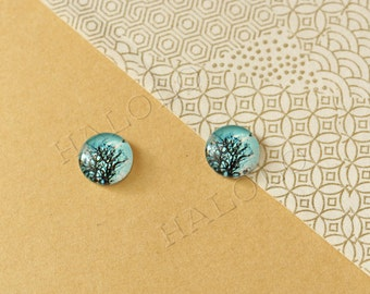 Sale - 10pcs handmade tree branches with bird round glass dome cabochons 12mm (12-0721)