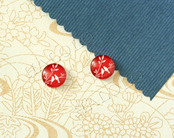 Sale - 10pcs handmade red bird glass dome cabochons 12mm (12-0776)