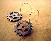 SALE!!  Motocross Oxidized Copper Sprocket Dangle Earrings