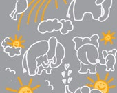 You Are My Sunshine Elephants in Gray and Orange Custom Cotton Print Fabric 1 YARD