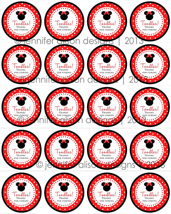 """INSTANT DOWNLOAD / Red Minnie Mouse TOODLES 2"""" printable Party Circles  Cupcake Topper / Stickers / Thank You Tag"""