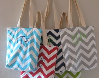 Bridesmaid Totes - 7 Monogrammed Mini Totes - Maid of Honor Gift - Welcome Bags & Wedding Favors - Chevron Bags