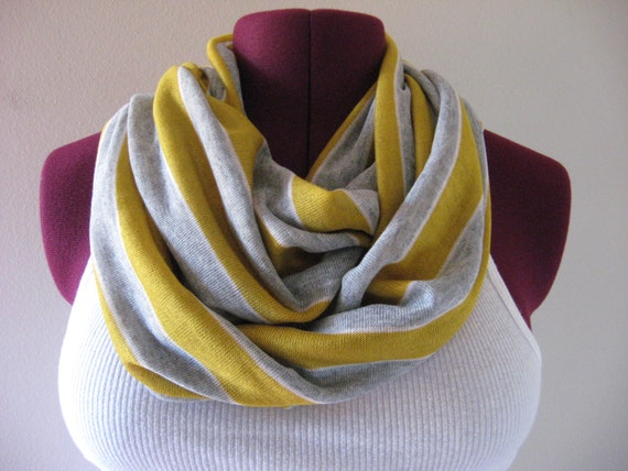 Infinity scarf in mustard and gray stripe scarf, mustard and grey stripe