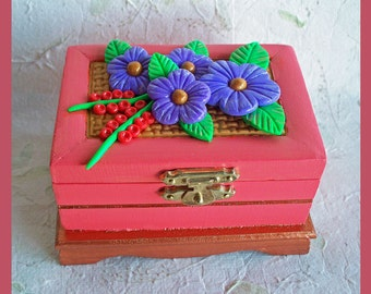 Trinket Box Floral Coral Sunset