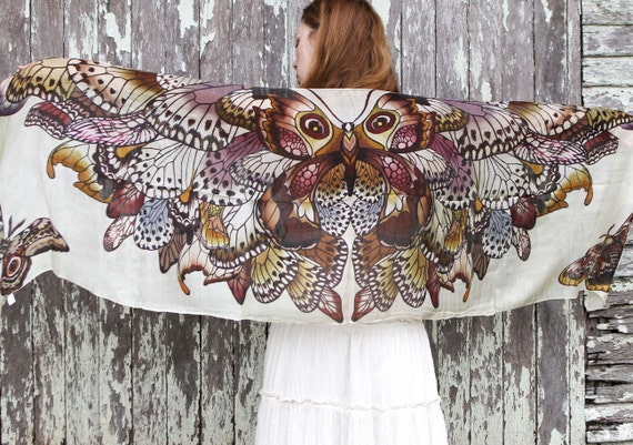 Silk cotton scarf, Hand painted Butterflies in Earthy tones, stunning unique and useful, perfect gift