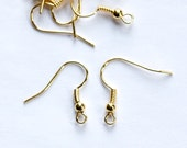 Gold Tone Ear Wires Hooks Coil and Bead (50) fnd010R