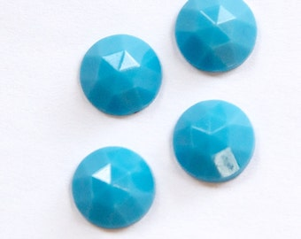 Vintage Turquoise Blue Faceted Glass Cabochon 11mm (6) cab115A
