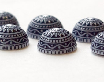Vintage Etched Mosaic Navy Blue and White Cabochons 12mm cab827B