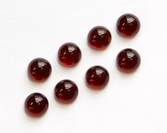 Dark Ruby Red Glass Cabochons 7mm No Foil cab701FF