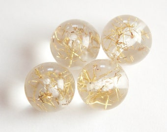 Vintage Clear Acrylic Beads with Gold Confetti 16mm bds850