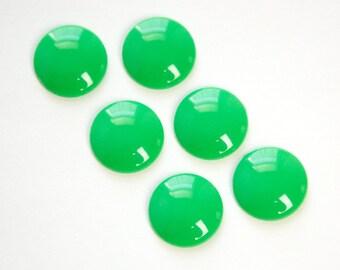 Vintage Green Acrylic Cabochons 15mm (6) cab831E
