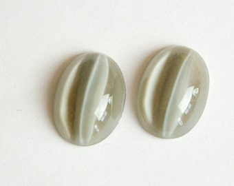 Vintage Moonglow Like Light Gray Cats Eye Glass Cabochons 18x13mm cab244