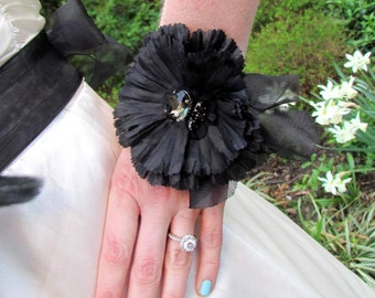 Black pleated corsage with Swarovski Crystal