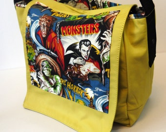 Fright Night Leather Messenger Bag - Movie Monsters Horror Movies Mummy Living Dead Werewolf