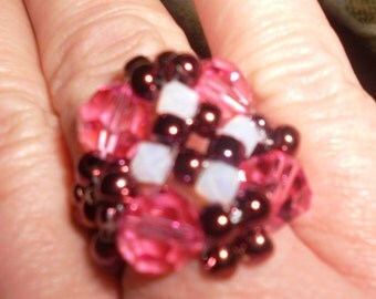 Beaded Crystal Ring