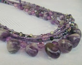 Amethyst Rocks long multistrand purple necklace