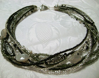 Midnight Sparkle black gray silver beaded multistrand necklace