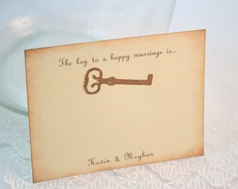 Key Wish Jar Cards Wedding Shower The Key to a Happy Marriage Set of 10