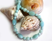 Amazonite Necklace: Soft Teal Blue Green Faceted Amazonite Natural Stones Sterling