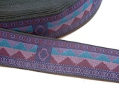Purple Ribbon, Purple Geometric Brocade Jacquard Ribbon 1 1/8 inches wide x 5 yards