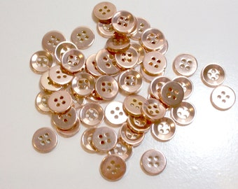 Coppertone Metal Coated Plastic Buttons 1/2 inch in diameter x 50 pieces, Small Copper Buttons
