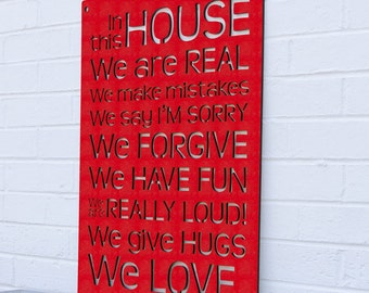 Mothers Day Family Gift, House Rules Sign, Family Quote Sign, In This House Sign, Inspirational Sign, Wood Sign Decor, Wood Word Sign