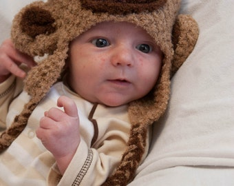 Tan and Brown Monkey Earflap Hat  3 month olds