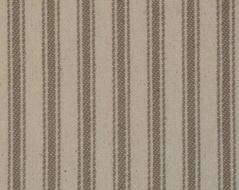FLAWED Taupe Ticking Material | Ticking Stripe Material | Vintage Inspired Ticking Material | Twill Ticking Material | 40 x 44